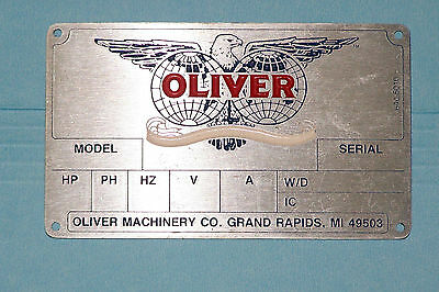 Motor Nameplate OLIVER  MACHINERY