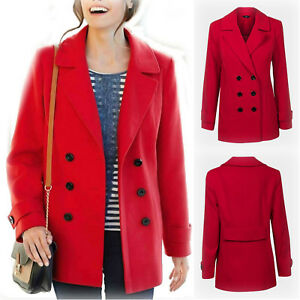 b9f9bd463391a Details about New Ladies M Co Red Pea Coat Double Breasted Parka Jacket  Plus Size 16-28 RRP£49