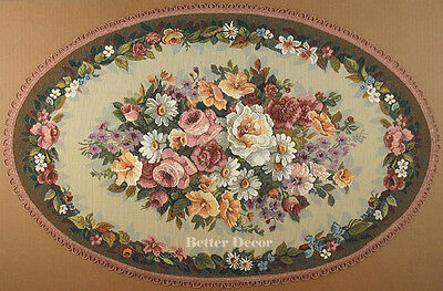 DECORATIVE TAPESTRY TABLE RUNNER Pink & Green Floral Ornament EURO PLACE MAT