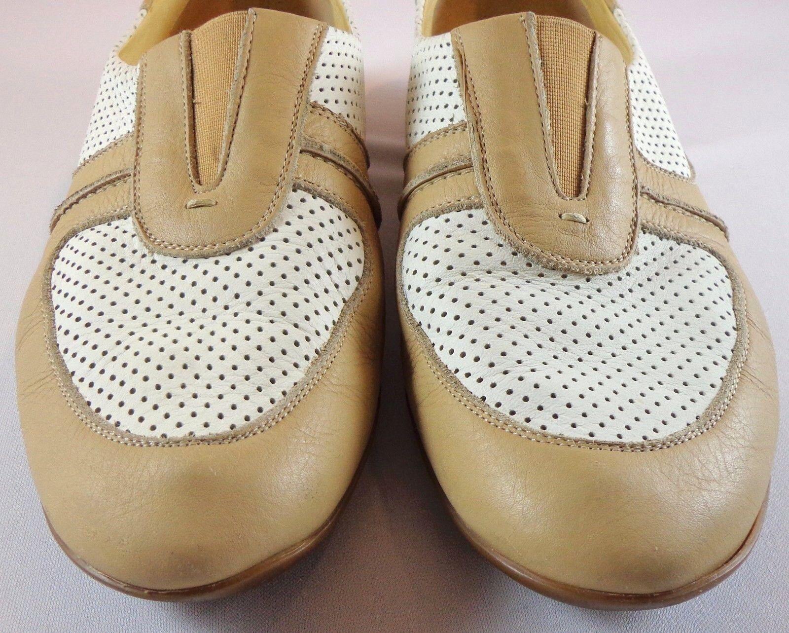 Zapatos de Cuero Sesto Meucci para Mujer Mujer Mujer blancoo Mocasines Talla 9.5 M bronceado 2d7123
