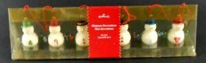 Hallmark-Set-of-6-Snowmen-Mini-Miniature-Decorations-Ornaments-Glittery-Snowman