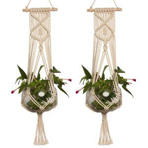 Image is loading Pot-Holder-Macrame-Plant-Hanger-Hanging-Planter-Basket-