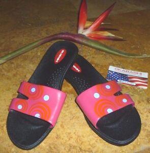 NEW-Okabashi-Sandals-Shoes-Pink-amp-Orange-w-Blue-Polka-Dots-Size-7-8