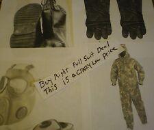 Nbc suit boots gloves Mask size M Nuclear Biological Chemical hazmat radiation