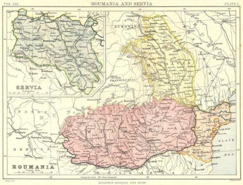 ROMANIA SERBIA.Roumania Servia.Wallachia Dobrudja Moldavia.Britannica 1898 map