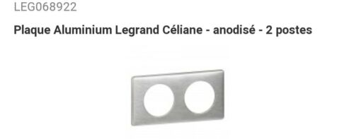 68922 PLAQUE ALUMINIUM LEGRAND CÉLIANE ANODISÉ 2 POSTES OCCASION