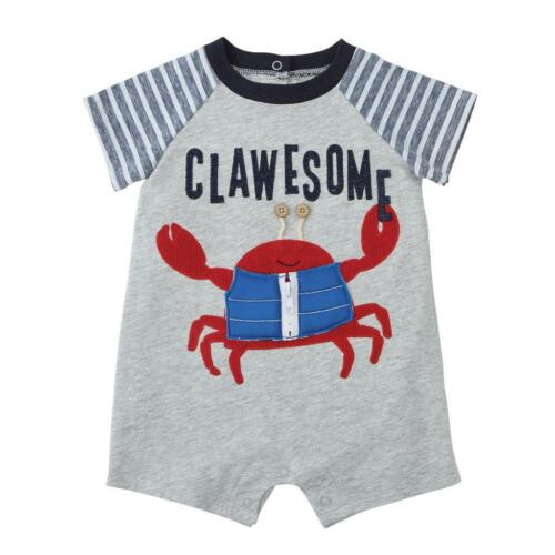 "Mud Pie Sail Away Collection /""Clawesome/"" Raglan Boys Shorts Romper"