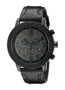 Citizen Eco-Drive Men's AT2205-01E BRT Chronograph Leather Strap 46mm Watch