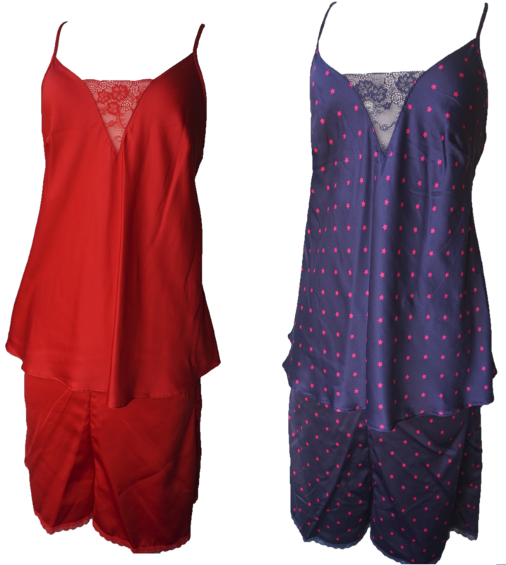 Ladies Satin With Lace Camisole Vest Top With Matching Shorts Sizes 8,12,18,22