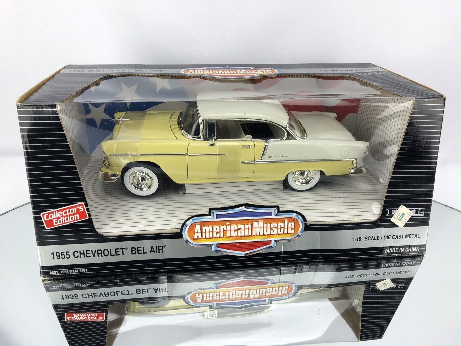 ERTL ERTL ERTL 1955 CHEVROLET Bel Air Hardtop Harvest gold Indiana Ivory 1 18  Diecast Car 5d9a03