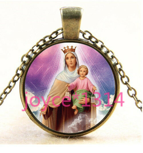 Vintage Virgin Mary Cabochon Bronze Glass Chain Pendant Necklace TS-3556