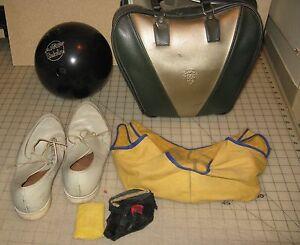 Vintage AMF STRIKELINE Black 12.5 lb Bowling Ball, Bag, Shoes, Glove & More