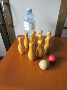 Details About Vintage Mini Wooden Bowling Pin Set 10 With 2 Mini Wooden Bowling Balls