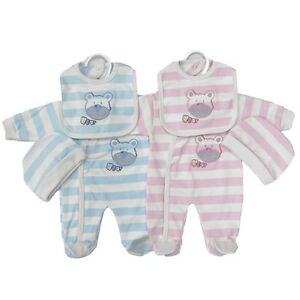 68213688347f Premature Baby Clothes Layette Tiny Sleepsuit Bib Hat 3 piece set 3 ...