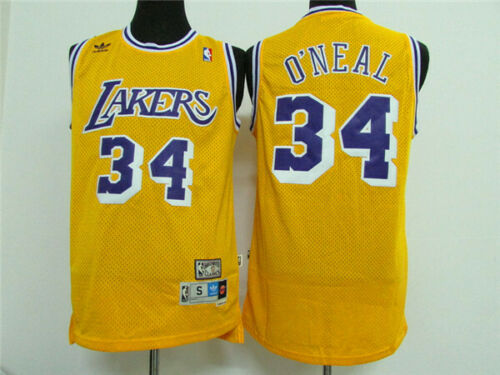 S-XXL New Los Angeles Lakers Shaquille O/'Neal #34 yellow basketball jersey size