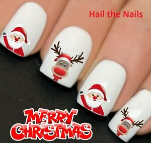 Nails Wraps Nail Art Water Transfers Decals Christmas Santa Rudolf