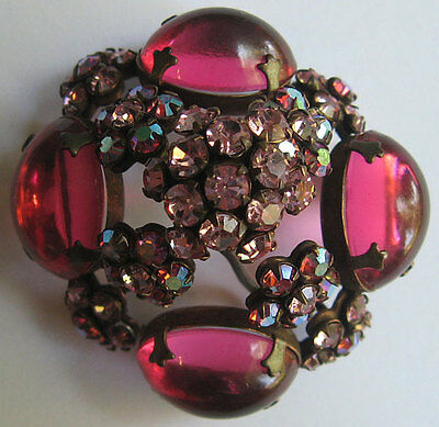 save for SCHREINER VINTAGE SHADES OF PINK RHINESTONE & GLASS CABOCHONS DOMED PIN
