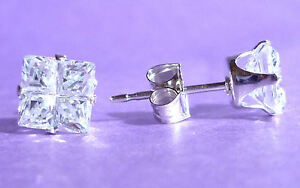 STERLING-SILVER-STUD-EARRINGS-SQUARE-5mm-CUBIC-ZIRCONIA-CZ-925-SOLID-SILVER