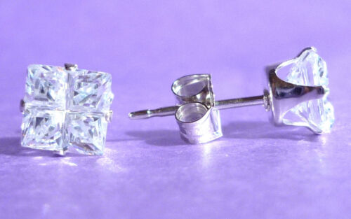 STERLING SILVER STUD EARRINGS SQUARE 5mm CREATED STONE 925 SILVER sk859