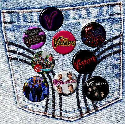 "THE VAMPS Band Various Badges 2.5 cm 1"" Button HandCrafted Teens Kids Gift Pack"