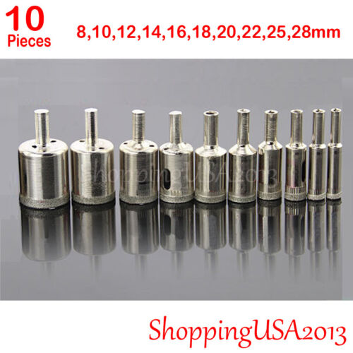 10 pcs 8-28mm Diamond Coated tool drill bit hole saw set glass ceramic marble**