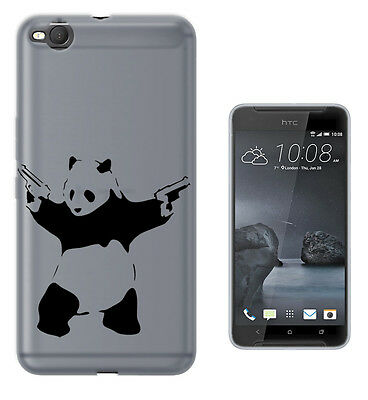C72 Banksy Shooting Panda Case Cover For HTC 10 M8 M9 A9 X9 DESIRE 530 610 825