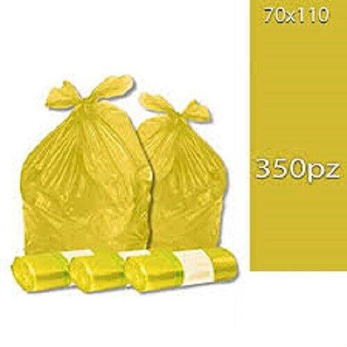 350 Sacchetti Differenziata Buste Immondizia 70x110 cm GIALLE Spazzatura