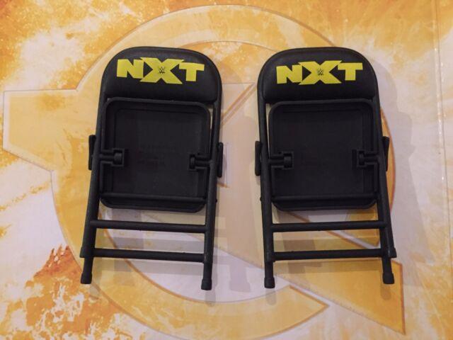 WWE Mattel 2 Black NXT Toy Folding Chairs Wrestling Figure Weapon Elite 61 62 63