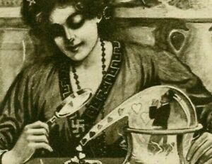RARE-FORTUNE-TELLER-with-SWASTIKA-AROUND-HER-NECK-amp-WIZARD-HAT-postcard-s862