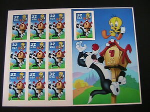 3204-1998-SYLVESTER-amp-TWEETY-BIRD-Mint-Pane-of-10-32-cent-US-Postage-Stamps-MNH