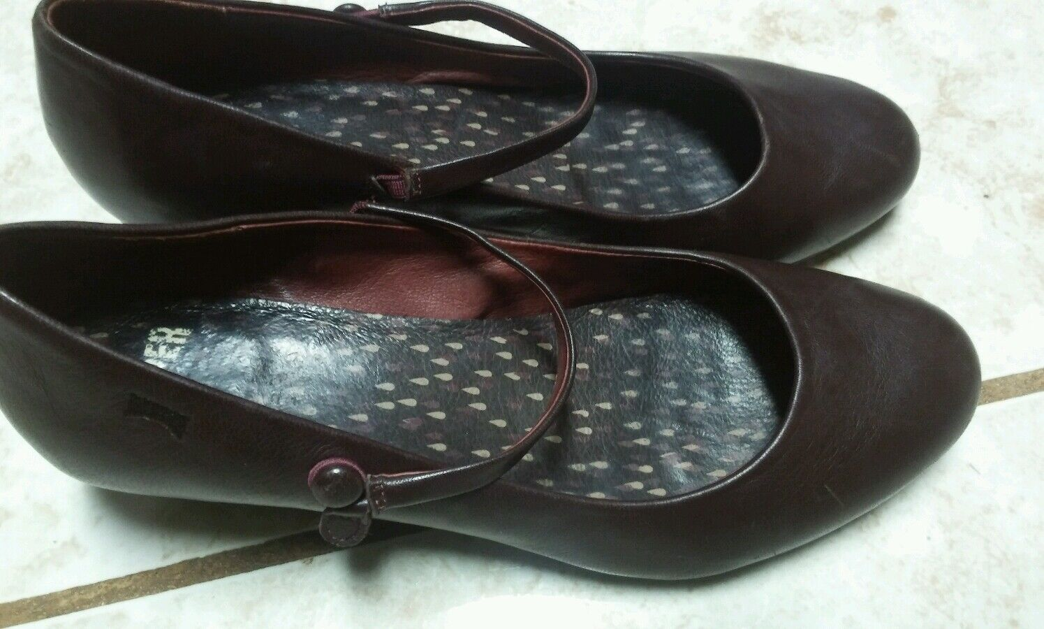 CAMPER Agatha Donna brown Pelle Mary Jane shoes size 39