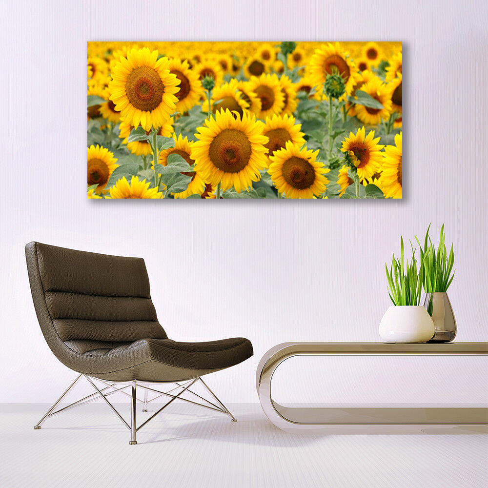 Print on Glass Wall art 140x70 Picture Image Image Image Sunflowers Floral ec25dc