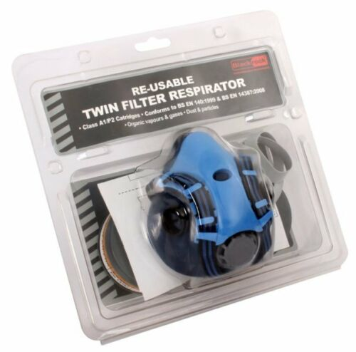 Blackrock Twin Filter Half PVC Mask Respirator A1 P2 Protection Paint Spraying