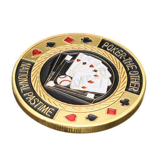 TEXAS Poker Card Guard Cover Protector Holder Casino Token Coin Chips Gold  !