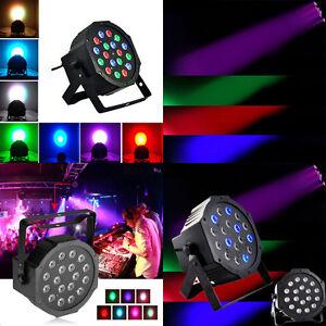 Image is loading 4Pcs-DJ-Disco-Par-Light-18-LED-RGB-