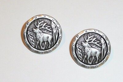 """Two Rustic Style Metal Shank Buttons Elk w/ Antlers Ant. Silver Finish 13/16"""""""