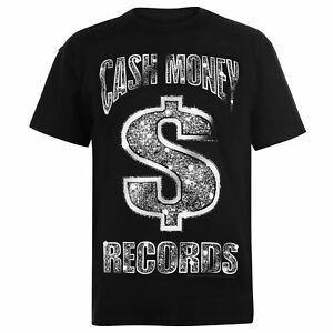 Officiel-Homme-Cash-Money-T-shirt-a-encolure-ras-du-Cou-Tee-Top-a-manches-courtes-en-coton-regular