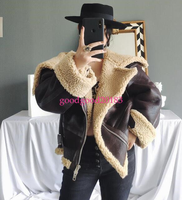 Para mujer de cuero de  piel de oveja de piel de cordero bombardero moto chaqueta Parka Invierno Nuevo  calidad de primera clase