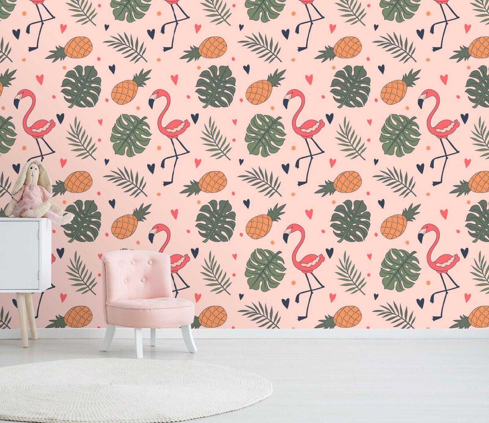 3D Cartoon Flamingo 13 Wallpaper Mural Print Wall Indoor Wallpaper Murals UK