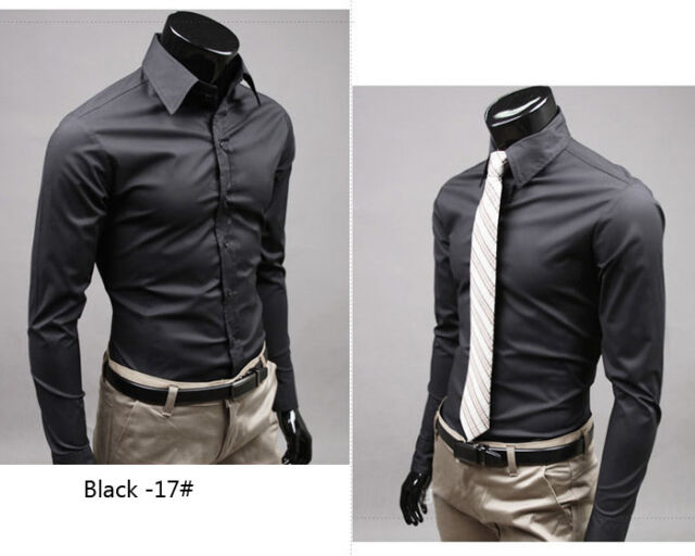 ST124 New Mens Luxury Casual Slim Fit Stylish Dress Shirts 17 Colors 4 Size