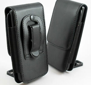 BLACK-LEATHER-BELT-CLIP-POUCH-HOLSTER-FLIP-CASE-COVER-HOLDER-FOR-VARIOUS-PHONES
