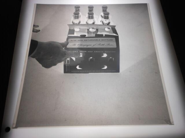 #1299 PHOTO NEGATIVE - 1966 MILLER HIGH LIFE BEER - 6 12-OZ BOTTLES