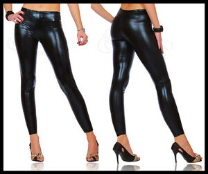 Sexy-Shiny-Wet-Look-Black-Full-Ankle-Length-Leggings-All-Sizes-HQ
