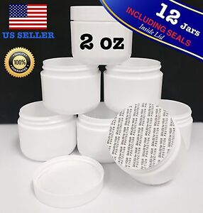 Details about 12 X 2 oz NEW Empty High Quality Plastic JAR Cosmetic  Containers Including Seals