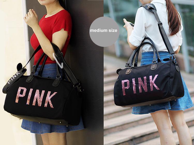 Sequins PINK Letters Gym Fitness Sports Bag Shoulder Waterproof Crossbody Bag
