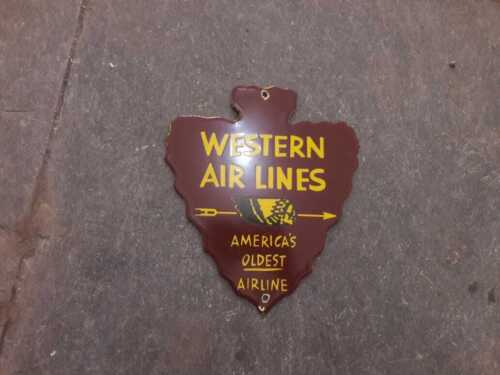 """Porcelain Western Airlines Enamel Sign Size 7/"""" x 8/"""" Inches"""