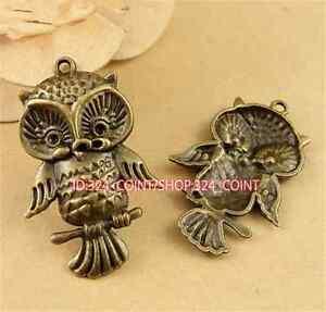 P1533 4pc Antique Bronze owl DIY Pendant Bead Charms Jewellery Making