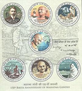 India-2018-Mahatma-Gandhi-round-odd-shaped-stamps-Famous-People-Minisheet-MNH