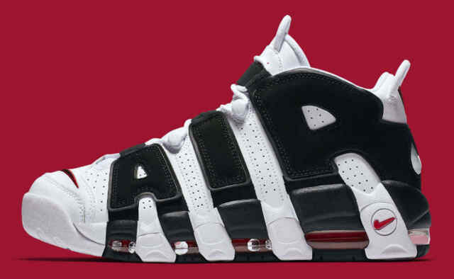 new concept 54a2d b0372 Nike Air More Uptempo Sneakers (414962-105) - White Black Red, Size 11.5