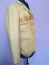 1950`S FRINGED DEERSKIN LEATHER FLEECE  LINED BUTTON UP JACKET SMALL 10 UK
